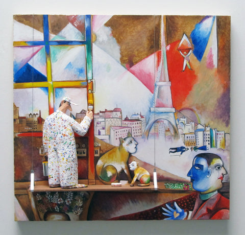 Paris Through the Window (Chagall) - Acrylic/Paper Mache' Paintings by artist Stephen Hansen