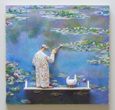 Water Lilies, 1906 (Monet) - Acrylic/Paper Mache' Paintings by artist Stephen Hansen