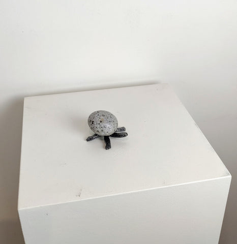 DAPHNE | Mini Turtle 5TF - Fieldstone and Iron Sculpture by artist Charles Adams and Thomas Widhalm