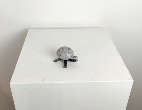MATTHEW | Mini Turtle 5TF - Fieldstone and Iron Sculpture by artist Charles Adams and Thomas Widhalm