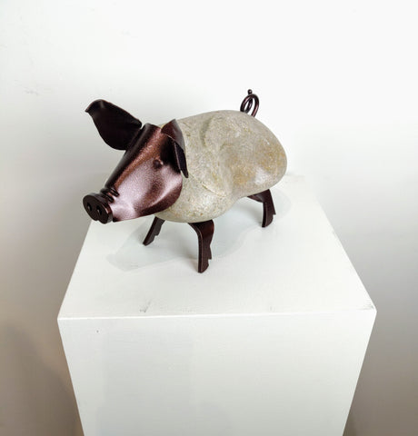 RHONDA | Medium Pig 8BY - Fieldstone and Iron Sculpture by artist Charles Adams and Thomas Widhalm