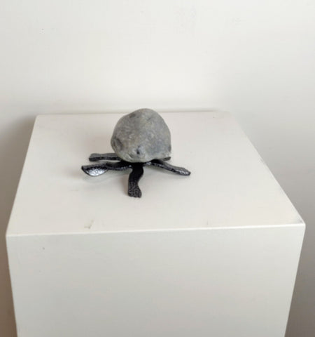 HELEN | Small Turtle 4TF - Fieldstone and Iron Sculpture by artist Charles Adams and Thomas Widhalm