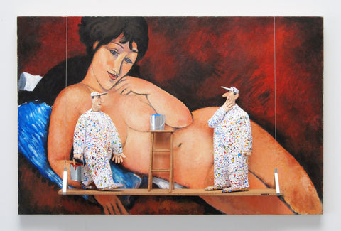 Nude on a Blue Cushion (Modigliani) - Acrylic/Paper Mache' Paintings by artist Stephen Hansen