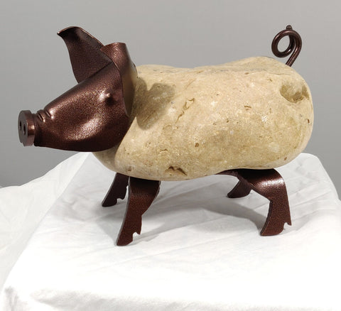 VIRGINIA | Medium Pig 8BY - Fieldstone and Iron Sculpture by artist Charles Adams and Thomas Widhalm
