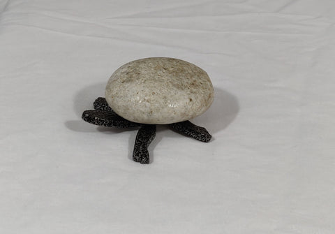 PARKER |Mini Turtle 5TF - Fieldstone and Iron Sculpture by artist Charles Adams and Thomas Widhalm