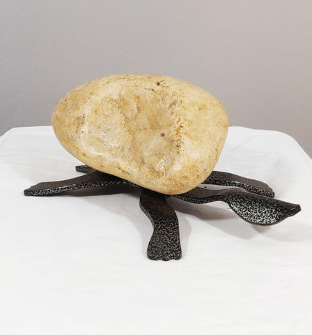 RO|Medium Turtle 3TF - Fieldstone and Iron Sculpture by artist Charles Adams and Thomas Widhalm