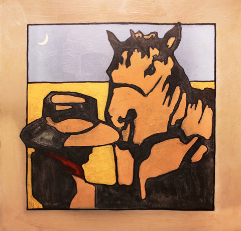 New Moon Cowboy-1746 - Acrylic /Mixed Media Paintings by artist Michael Swearngin