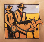 Full Moon Cowboys-1747 - Acrylic /Mixed Media Paintings by artist Michael Swearngin