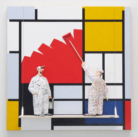 Composition with Large Red Plane (Mondrian) - Acrylic/Paper Mache' Paintings by artist Stephen Hansen