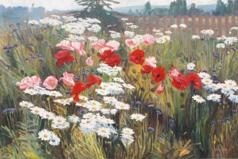 Wildflower Meadow - Oil Paintings by artist John Horejs