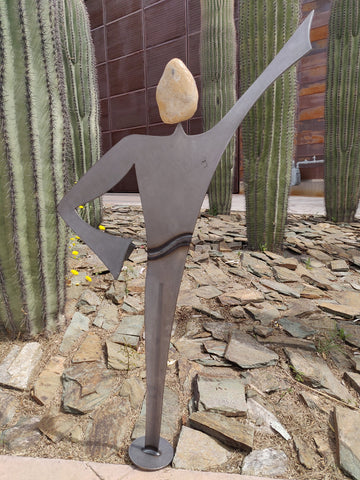 Rock Spirit Male 7RS - Fieldstone and Iron Sculpture by artist Charles Adams and Thomas Widhalm
