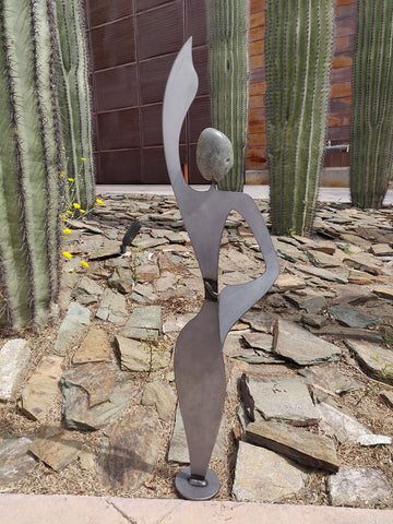 Rock Spirit Medium Dancing Lady 9RS - Fieldstone and Iron Sculpture by artist Charles Adams and Thomas Widhalm
