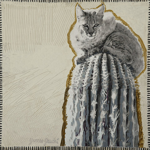 Z Bobcat Perch - Mixed Media on Panel Paintings by artist Yvonne Gaudet