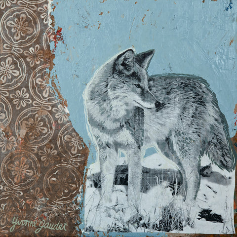 Z Coyote Snow - Mixed Media on Panel Paintings by artist Yvonne Gaudet