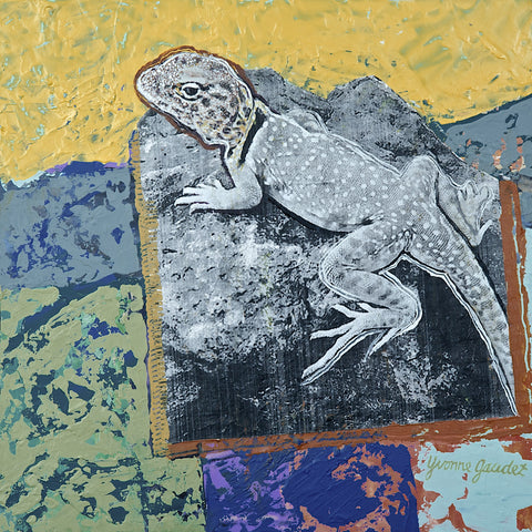 Z Lizard Lookout - Mixed Media on Panel Paintings by artist Yvonne Gaudet