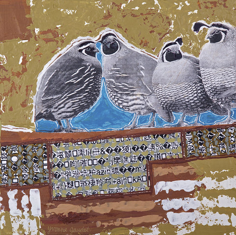 Z Quail Line - Mixed Media on Panel Paintings by artist Yvonne Gaudet