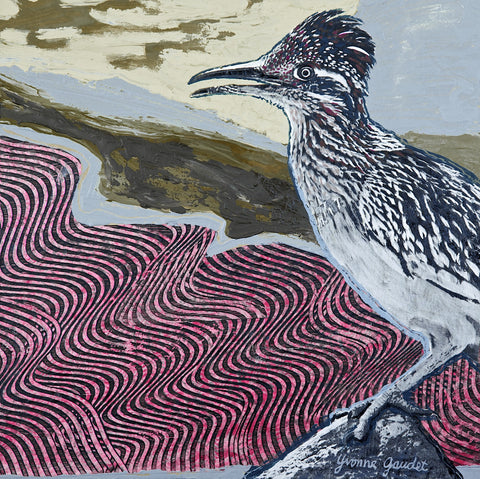 Z Roadrunner Rock - Mixed Media on Panel Paintings by artist Yvonne Gaudet