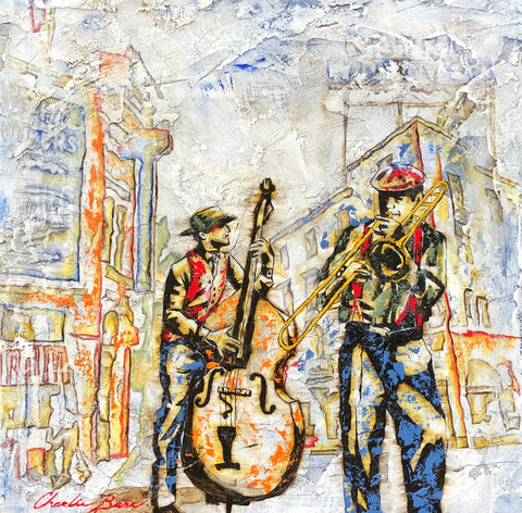 Street Jazz - Acrylic on cement Paintings by artist Charlie Barr