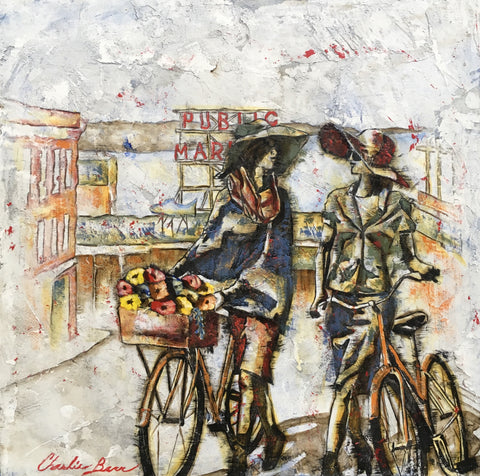 Friends at  the Market - Acrylic on cement Paintings by artist Charlie Barr