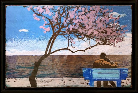 Sakura - Master Series - Glass on Copper Metal Wall Art by artist Houston Llew - Spiritiles