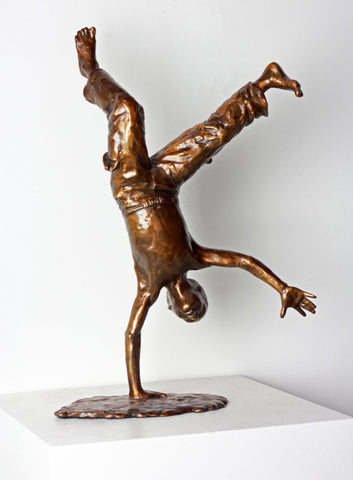 Cartwheel Boy (1 hand down) - Bronze Sculpture by artist Gary Lee Price