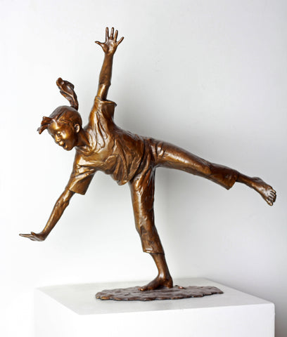Cartwheel Girl (Ponytail) - Bronze Sculpture by artist Gary Lee Price