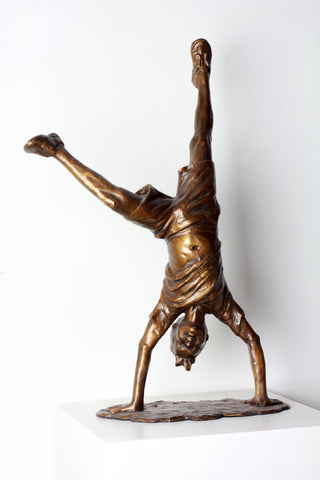 Cartwheel Boy (2 hands down) - Bronze Sculpture by artist Gary Lee Price