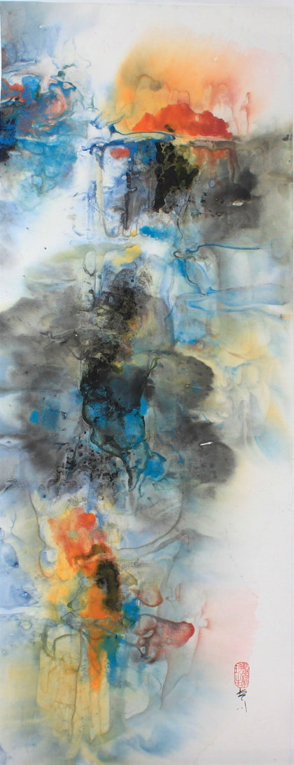 As Above, So Below - Ink and watercolor on ricepaper Paintings by artist Karen Kurka Jensen