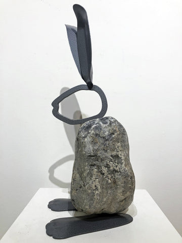 IRIS|Large Bunny 12BY - Fieldstone and Iron Sculpture by artist Charles Adams and Thomas Widhalm