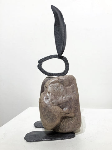 TONY|Small Bunny 13BY - Fieldstone and Iron Sculpture by artist Charles Adams and Thomas Widhalm