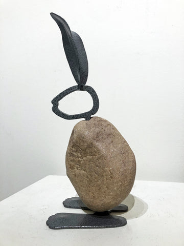 WILLIAM|Small Bunny 13BY - Fieldstone and Iron Sculpture by artist Charles Adams and Thomas Widhalm