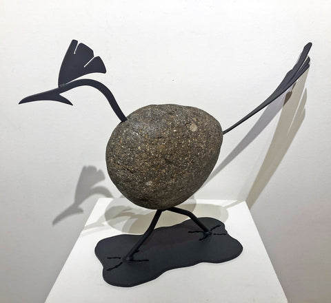 PENELOPE|Roadrunner 3BY - Fieldstone and Iron Sculpture by artist Charles Adams and Thomas Widhalm