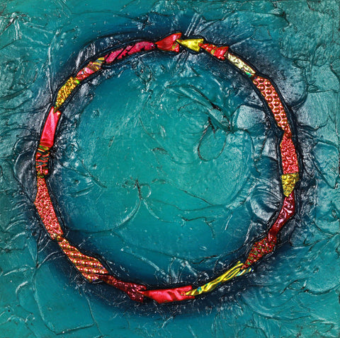 Floating Circle Series #31 - Glass and Acrylic on Aluminum Glass by artist Christine Hausserman