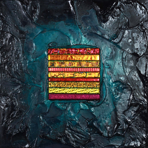 Floating Square Series #19 - Glass and Acrylic on Aluminum Glass by artist Christine Hausserman