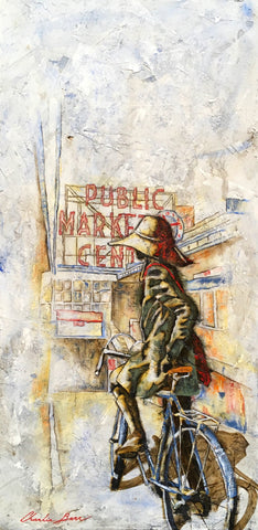 Waiting for a Friend at the Market - Acrylic on cement Paintings by artist Charlie Barr