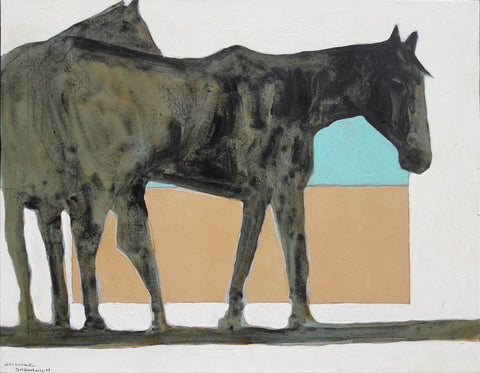 Remuda of Horses - 1765 - Acrylic /Mixed Media Paintings by artist Michael Swearngin