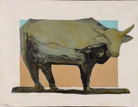 Lone Steer Under a Blue Sky - 1766 - Acrylic /Mixed Media Paintings by artist Michael Swearngin