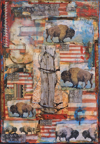 Bison & Flag - Mixed Media Paintings by artist Dave Newman