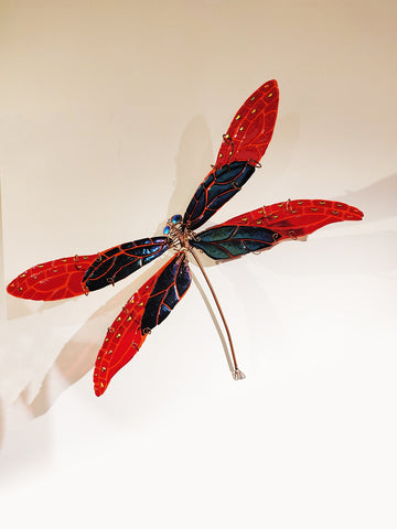 Damselfly #1 Iridized Black/Red - Fused Glass and Copper Sculpture by artist Mason Parker