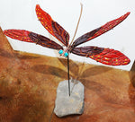 Damselfly #2 Red/Scarlet Red - Fused Glass and Copper Sculpture by artist Mason Parker