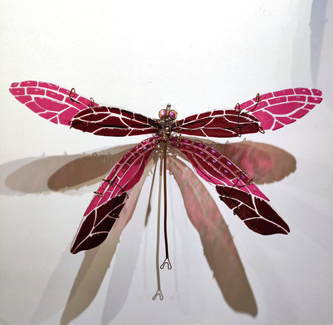 Damselfly #3 Cranberry Red/Pink - Fused Glass and Copper Sculpture by artist Mason Parker