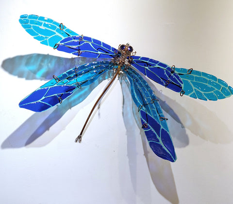 Damselfly #4 Cobalt Blue/ Aqua Blue - Fused Glass and Copper Sculpture by artist Mason Parker