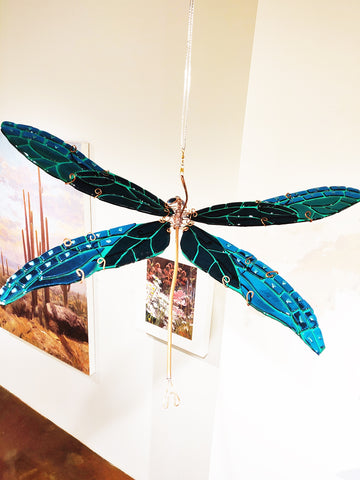 Damselfly #5 Marine Blue/Medium Blue - Fused Glass and Copper Sculpture by artist Mason Parker