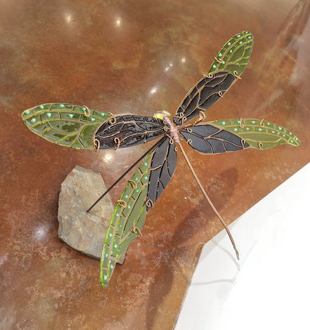 Damselfly #7 Eggplant/Spring Green - Fused Glass and Copper Sculpture by artist Mason Parker