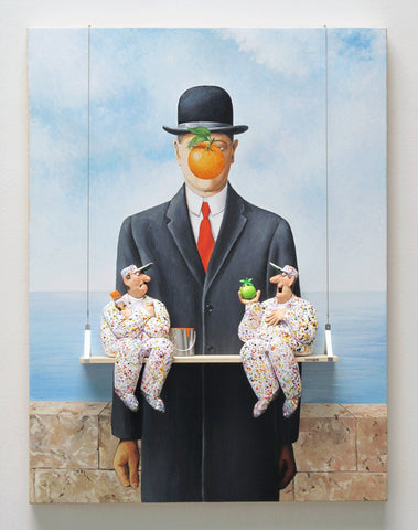 The Son of Man (Magritte) - Acrylic/Paper Mache' Paintings by artist Stephen Hansen