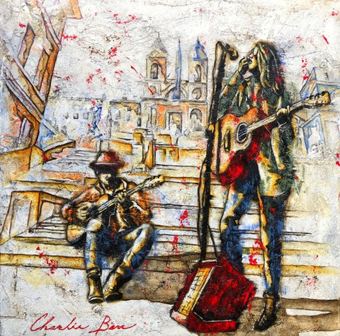 Busking on the Steps - Acrylic on cement Paintings by artist Charlie Barr