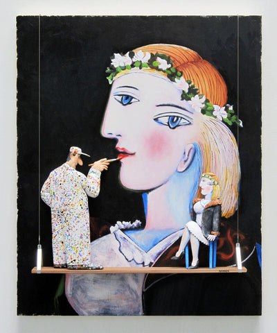 Portrait of Marie-Therese Walter with Garland (Picasso) - Acrylic/Paper Mache' Paintings by artist Stephen Hansen