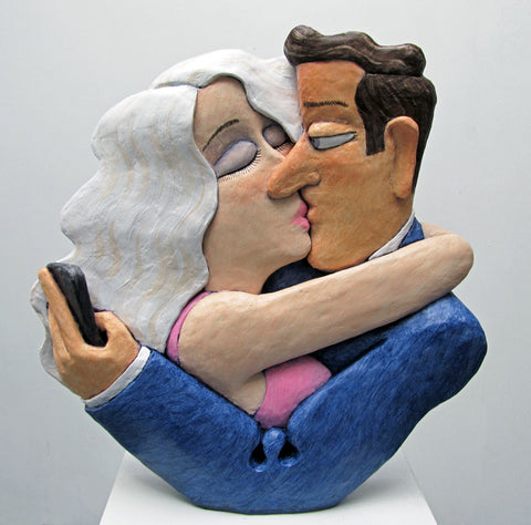 Kiss and Tell - cast resin/ acrylic Sculpture by artist Stephen Hansen