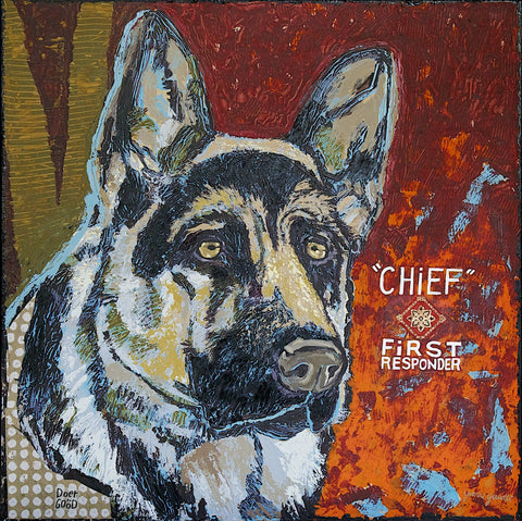 Chief - Mixed Media on Panel Collage by artist Yvonne Gaudet