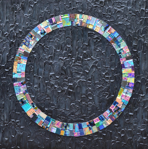 Contemporary Quilt - Glass and Acrylic on Aluminum Glass by artist Christine Hausserman